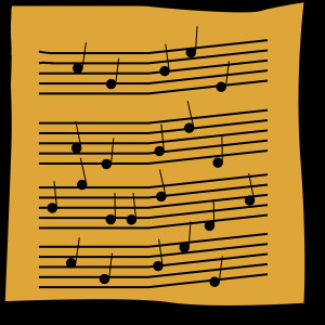 butternut yellow background square with illustrated musical notation