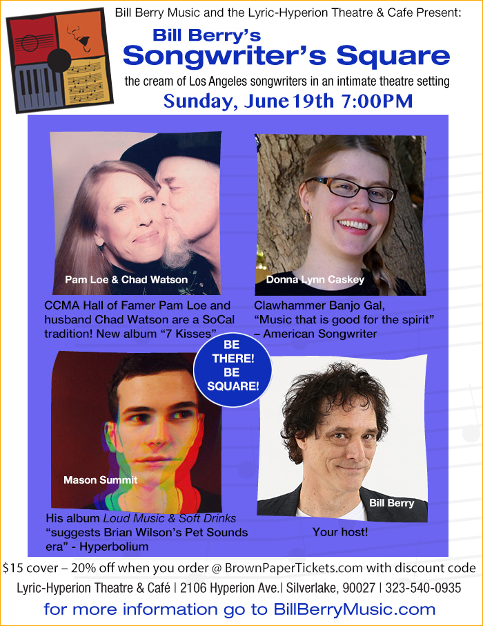 four-photo collage poster for Bill Berry's Songwriter's Square June 19, 2016