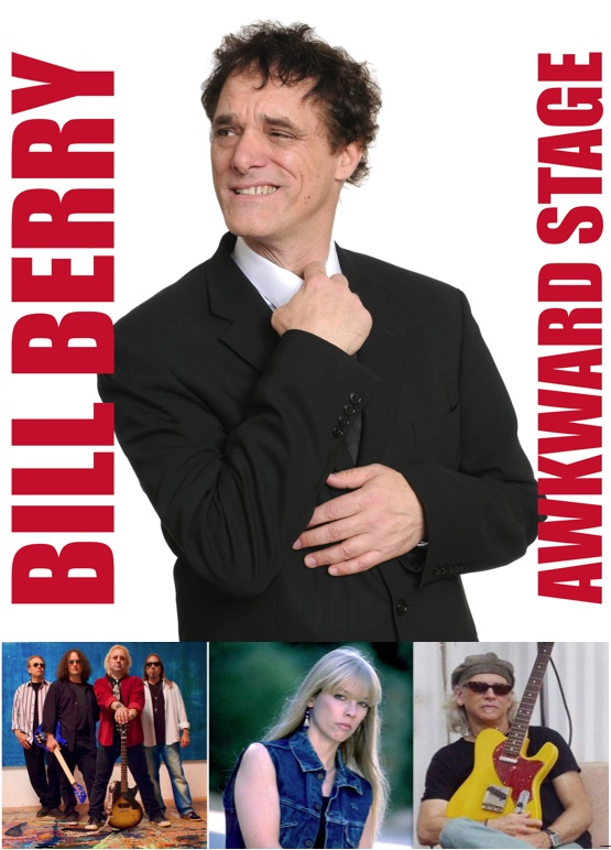 montage of musician photos and Bill Berry Awkward Stage album cover